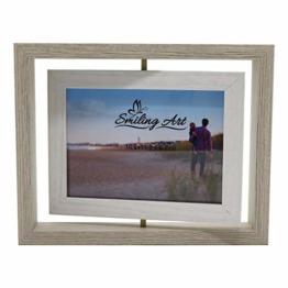 Smiling Art kreativer Bilderrahmen für 2 Fotos aus Holz mit Glas, Doppelrahmen (Drehbar Weiß, 10x15 cm) - 1