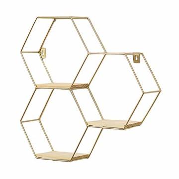 SWECOMZE Wandregal aus Metall, Schweberegal Küchenregal, Gold Holz Dekorativ Schwimmregal Hängeregal Wand Deko für Schlafzimmer Wohnzimmer Flur Büro (3-Bienenwabe-Gold) - 1