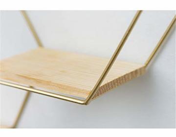 SWECOMZE Wandregal aus Metall, Schweberegal Küchenregal, Gold Holz Dekorativ Schwimmregal Hängeregal Wand Deko für Schlafzimmer Wohnzimmer Flur Büro (3-Bienenwabe-Gold) - 5