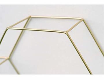 SWECOMZE Wandregal aus Metall, Schweberegal Küchenregal, Gold Holz Dekorativ Schwimmregal Hängeregal Wand Deko für Schlafzimmer Wohnzimmer Flur Büro (3-Bienenwabe-Gold) - 6