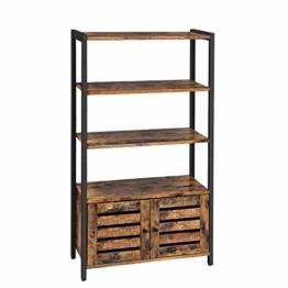 VASAGLE Bücherregal, Bücherschrank im Industrie-Design mit 3 Ablagen, 2 Lamellentüren, Wohnzimmer, Arbeitszimmer, Schlafzimmer, 70 x 30 x 121,5 cm, multifunktional, Vintage, Dunkelbraun LSC75BX - 1