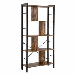 VASAGLE Bücherregal, Büroregal, Raumteiler mit 4 Ebenen, Standregal im Industrie Design Wohnzimmer, Büro, Arbeitszimmer, viel Stauplatz, groß, stabil, einfacher Aufbau, Vintage LBC12BX - 1