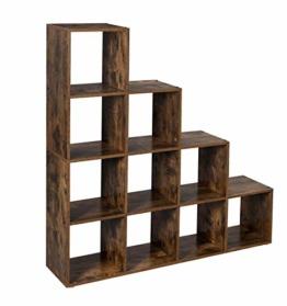 VASAGLE Treppenregal, Bücherregal mit 10 Würfeln, Leiterregal, Würfelregal, freistehendes Regal, Raumteiler, für Büro, Wohnzimmer, Schlafzimmer, Vintage, dunkelbraun LBC10BX - 1