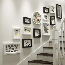 XINGXISHI Fotorahmen-Collage Set 13-TLG. Wandrahmen, Massivholz-Kombination Bilderrahmen Wand, kreative Hintergrund-Wanddekoration für Treppen (Farbe : Schwarz + Weiß) XXS8144 - 1