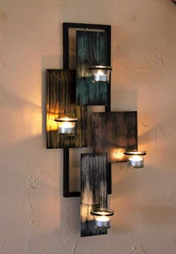 DanDiBo Wandteelichthalter Abstrakt Metall Wand Schwarz 61 cm Teelichthalter Kerzenhalter Wandkerzenhalter Wandleuchter - 2