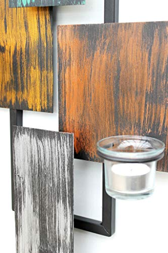 DanDiBo Wandteelichthalter Abstrakt Metall Wand Schwarz 61 cm Teelichthalter Kerzenhalter Wandkerzenhalter Wandleuchter - 3