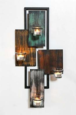 DanDiBo Wandteelichthalter Abstrakt Metall Wand Schwarz 61 cm Teelichthalter Kerzenhalter Wandkerzenhalter Wandleuchter - 1