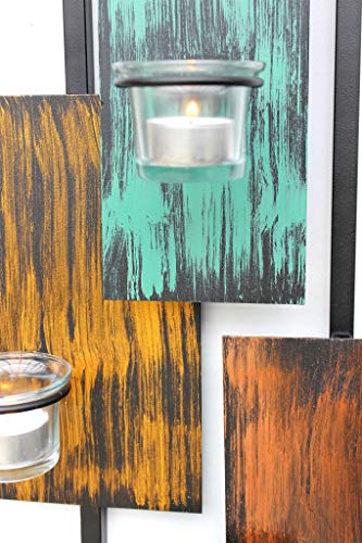 DanDiBo Wandteelichthalter Abstrakt Metall Wand Schwarz 61 cm Teelichthalter Kerzenhalter Wandkerzenhalter Wandleuchter - 4
