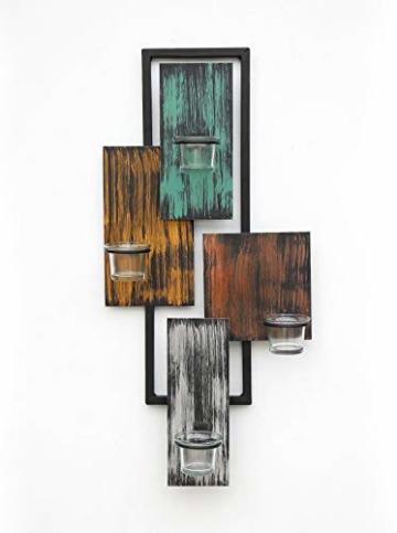 DanDiBo Wandteelichthalter Abstrakt Metall Wand Schwarz 61 cm Teelichthalter Kerzenhalter Wandkerzenhalter Wandleuchter - 5
