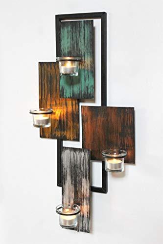 DanDiBo Wandteelichthalter Abstrakt Metall Wand Schwarz 61 cm Teelichthalter Kerzenhalter Wandkerzenhalter Wandleuchter - 6