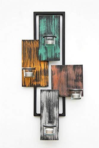 DanDiBo Wandteelichthalter Abstrakt Metall Wand Schwarz 61 cm Teelichthalter Kerzenhalter Wandkerzenhalter Wandleuchter - 7