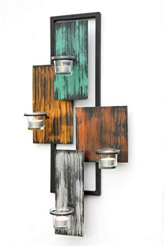 DanDiBo Wandteelichthalter Abstrakt Metall Wand Schwarz 61 cm Teelichthalter Kerzenhalter Wandkerzenhalter Wandleuchter - 8