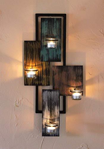 DanDiBo Wandteelichthalter Abstrakt Metall Wand Schwarz 61 cm Teelichthalter Kerzenhalter Wandkerzenhalter Wandleuchter - 9