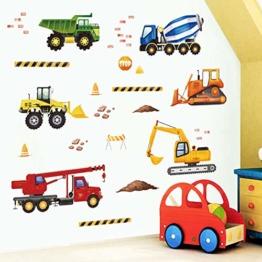 decalmile Wandtattoo Konstruktion Wandaufkleber Lastwagen Fahrzeuge Wandsticker Kinderzimmer Jungen Schlafzimmer Spielzimmer Wanddeko - 1