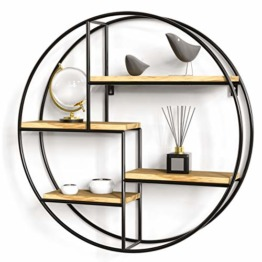 Gadgy ® WandRegal Rund l mit 4 Böden l Schweberegal l 100% natürliches Holz & geschweißtes Metall l Skandinavisch/Industrielen Stil l Ø 42 x 10 cm - 1