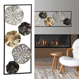 Wanddeko aus Metall im Rahmen Wandkunst Ringe Kreise Blumem Eisen Skulptur Wanddekoration - 1